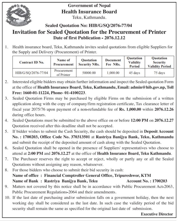 Invitation for Sealed Quotation for the Procurement of Printer